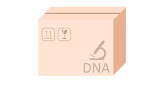 doos met daarin een dna test